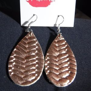 Rose Gold Braided Leather Earrings